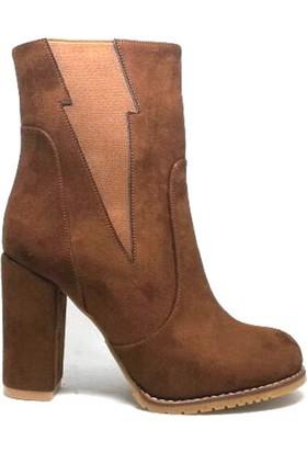 Shop And Shoes 173-120222 Taba Süet Bot Kadın Ayakkabı