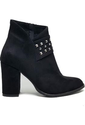 Shop And Shoes 173-121101 Kadın Bot Siyah Süet