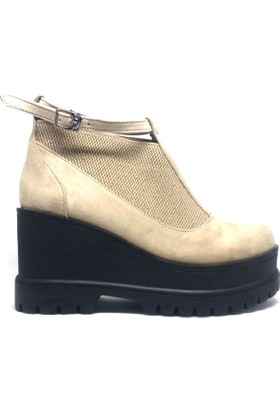 Shop And Shoes 173-12515 Kadın Ayakkabı Bej Süet
