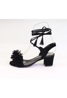 Shop And Shoes 174-722 Kadın Sandalet Siyah Süet