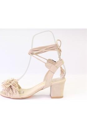 Shop And Shoes 174-722 Kadın Sandalet Bej Süet