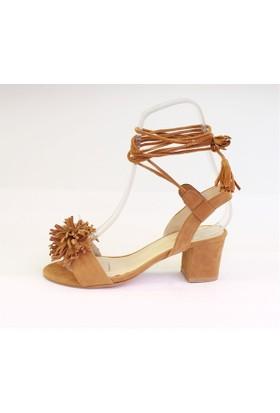 Shop And Shoes 174-722 Kadın Sandalet Taba Süet