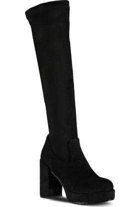 Marjin Venzo Topuklu Çizme Siyah Süet