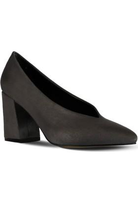Marjin Vistan Topuklu Ayakkabı Gri Süet
