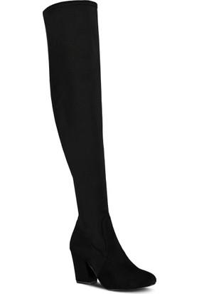 Marjin Yata Topuklu Çizme Siyah Süet