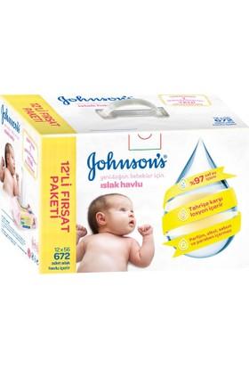 Johnsons Baby Yenidoğan Parfümsüz Islak Mendil 672 Adet 12'li Paket