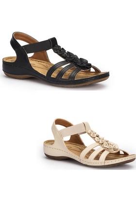 Polaris Bayan Ortapedik Deri Sandalet