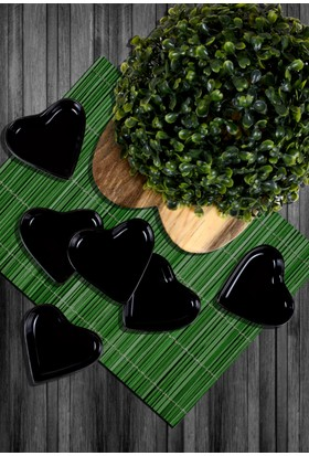 Keramika 6 Parça 9 Cm Siyah Kalp Cerezlik