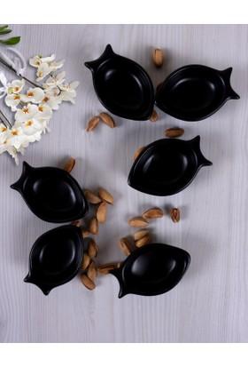 Keramika 6 Adet 8 Cm Mini Balık Mat Siyah Sosluk
