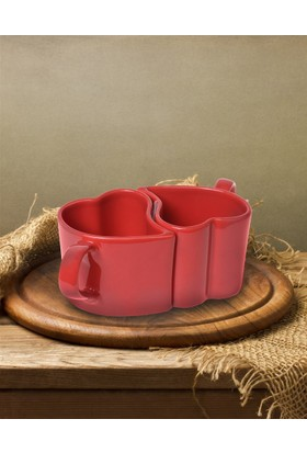 Keramika 2 Parça Kalp Kupa Kırmızı
