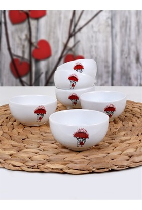 Keramika 6 Parça 8 Cm Red Love Şemsiye Kase Bulut