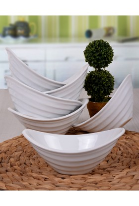 Keramika 6 Adet 16 Cm Gondol Beyaz Cerezlik