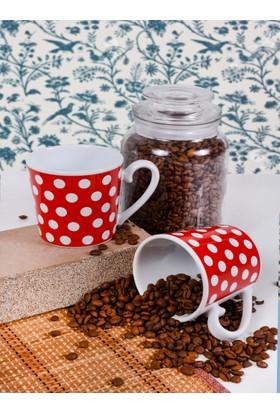 Keramika 2 Parça 9 Cm Aura Kırmızı Benek Kupa