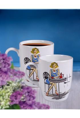 Keramika 2 Parça 9 Cm Havali Kadinlar Coffee Bulut Kupa