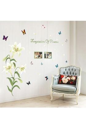 Zooyoo Özel Beyaz Lilyum Çiçeği Fotoğraflık 3D Kelebekli Renkli Ev Dekor Duvar Sticker