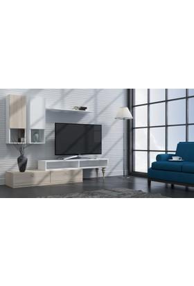 Sanal Mobilya Vita Tv Ünitesi Dolaplı Kitaplıklı Raflı Duvar Ünitesi Sonomo - Parlak Beyaz
