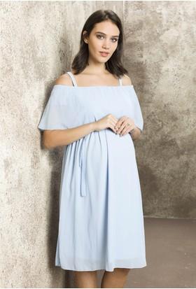 Casual Hamile Şifon Elbise 8320 Mavi