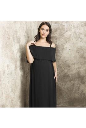 Casual Hamile Şifon Elbise 8320 Siyah