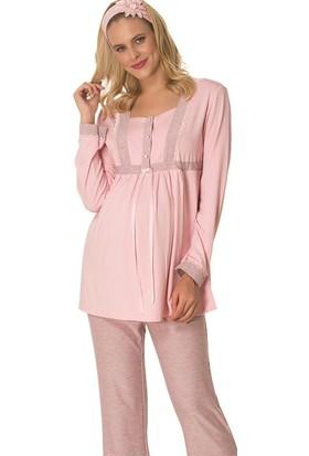 Mecit Lohusa Jakarlı Pijama Takım M - 1717 Pembe