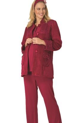 Mecit Lohusa Örgü 3'lü Pijama Takım M - 1703 Vişne