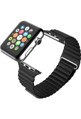 Markacase Apple Watch 42 Mm Leather Deri Loop Mıknatıslı Kayış Kordon