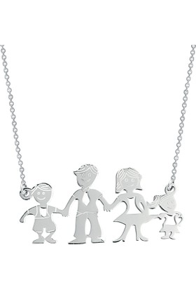 Aez Sılver 4 Kişi Aile Gümüş Kolye