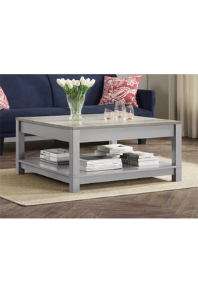Lucky Wood Store Lucky Wood Old Face Serisi Grey Mondi Kare Sehpa