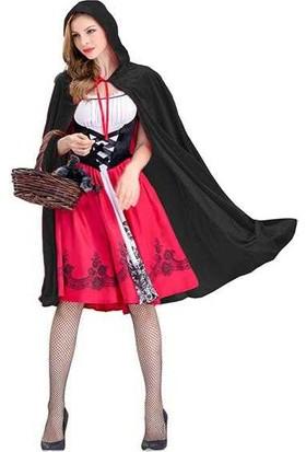 Cadılar Bayramı Siyah Pelerin Kapüşonlu 90cm