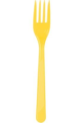 PartiBulutu Sarı Plastik Çatal 25'li