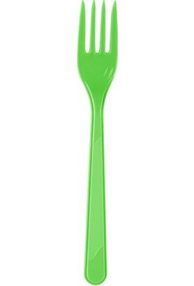 PartiBulutu Yeşil Plastik Çatal 25'li