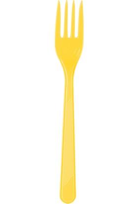 PartiBulutu Sarı Plastik Çatal 10'lu