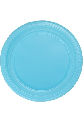 PartiBulutu Mavi Plastik Tabak 22 cm 25'li
