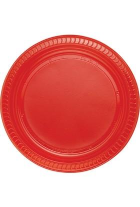 PartiBulutu Kırmızı Plastik Tabak 22 cm 25'li