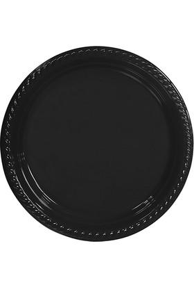 PartiBulutu Siyah Plastik Tabak 22 cm 10'lu