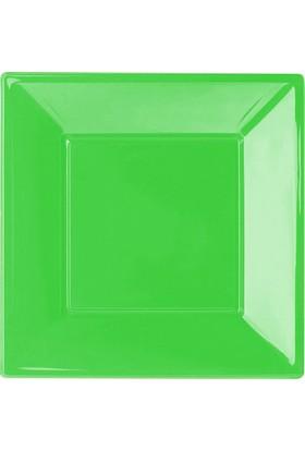 PartiBulutu Yeşil Büyük Plastik Kare Tabak 8'li
