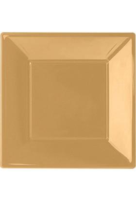 PartiBulutu Altın Küçük Plastik Kare Tabak 8'li