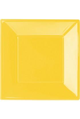 PartiBulutu Sarı Büyük Plastik Kare Tabak 8'li
