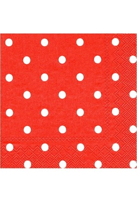 PartiBulutu Kırmızı Puantiyeli Peçete 33x33cm
