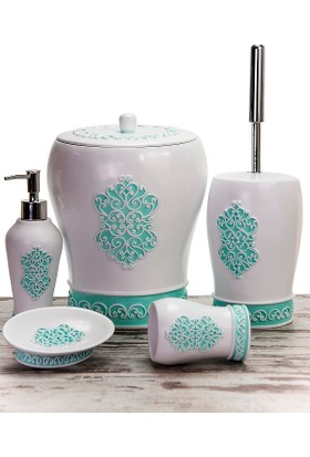 Mukko Home Polyester 5 Parça Banyo Seti - Saray Mint