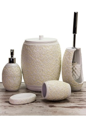Mukko Home Polyester 5 Parça Banyo Seti - Selçuklu Krem