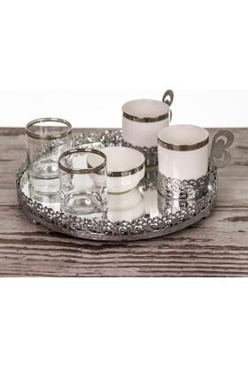 Mukko Home Jardinyer Tepsili Damat Fincanı Takımı 2 Kişilik - Gümüş