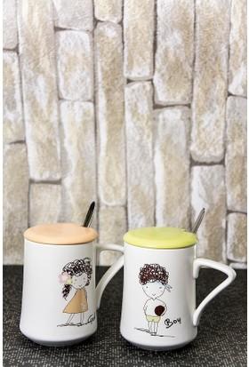 Mukko Home Porselen 2'li Kupa Set Turuncu - Yeşil 11,5 Cm