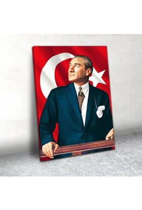 Plustablo Bayraklı Atatürk Portresi Kanvas Tablo 20x30 cm.