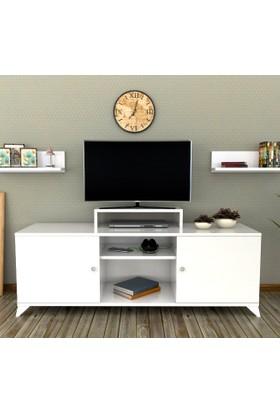 Sigmadecor Almach Duvar Raflı Tv Ünitesi(Beyaz)