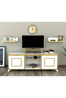 Sigmadecor Mirach Duvar Raflı Tv Ünistesi(Altın)