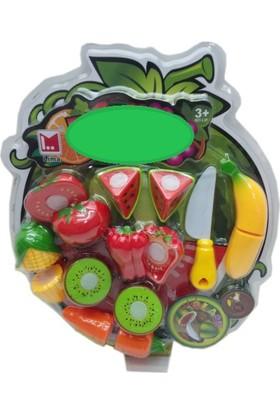 Ekincioğlu Kesilebilen 10 Parça Kesme Tahtalı Oyuncak Sebze Meyve Seti
