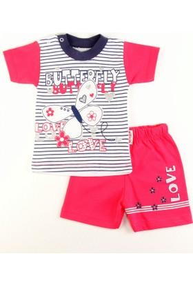 Gülücük Fuşya T-Shirt Şort Kız Takımı 6 - 9 Ay