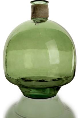 Pausa Yeşil Dekoratif Yuvarlak Cam Şişe