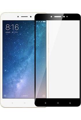 Case 4U Xiaomi Mi Max 2 Tam Kaplayan Temperli Cam Ekran Koruyucu Siyah