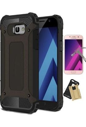 Case 4U Samsung Galaxy A5 2017 Çift Katmanlı Tank Kapak Kılıf + Cam Ekran Koruyucu Siyah